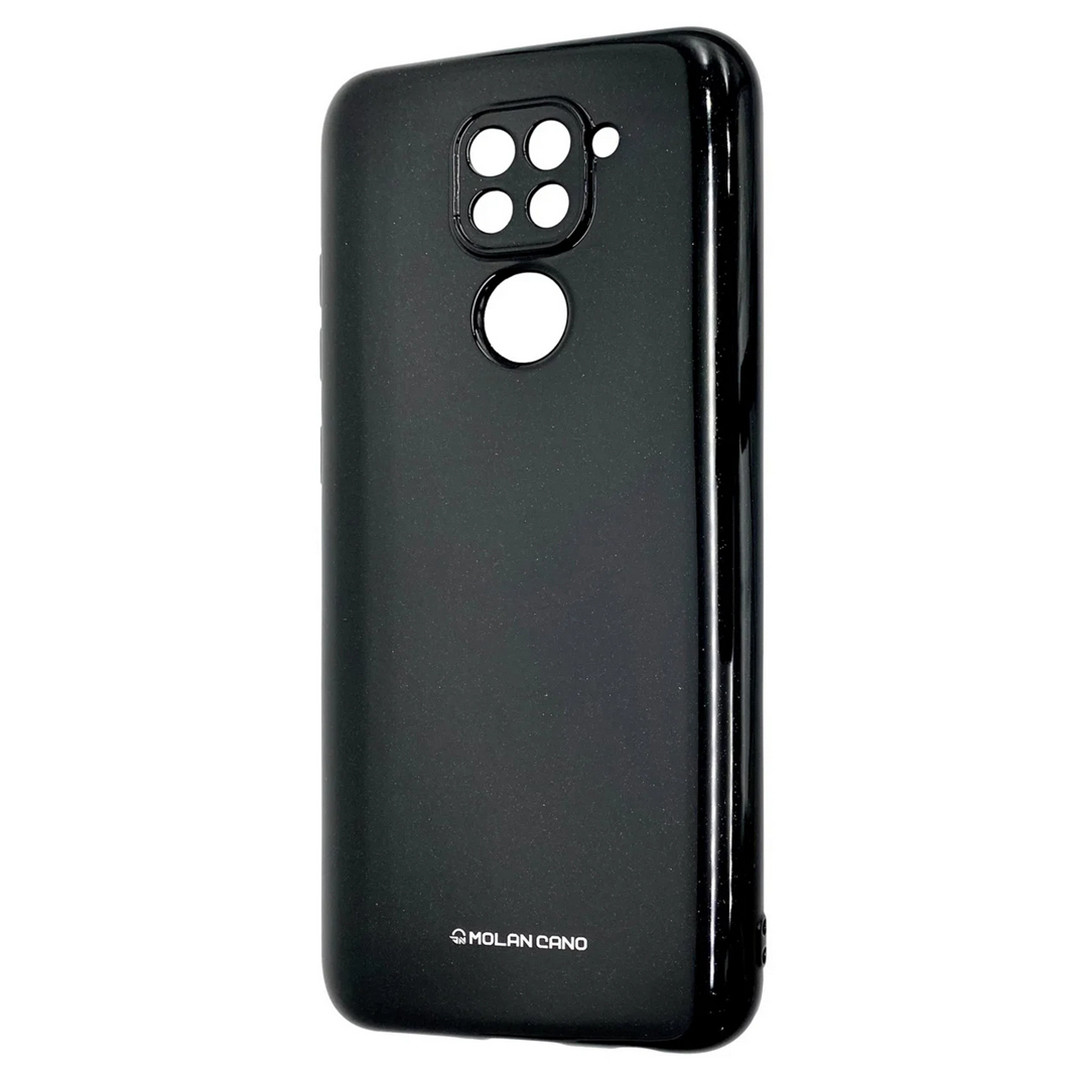 Силиконовый чехол для Xiaomi Redmi Note 9, Molan Cano, черный с микроблеском