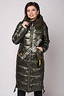 Пальто-пуховик большого размера  с мехом козлика Mishele 21138, фото 1