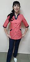 Женский медицинский костюм Радуга хлопок три четверти рукав, фото 1