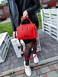 Женская кожаная сумка размером 25х19х12 см Красная (01136), фото 3