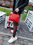 Женская кожаная сумка размером 25х19х12 см Красная (01136), фото 4