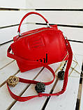 Женская кожаная сумка размером 25х19х12 см Красная (01136), фото 5