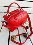 Женская кожаная сумка размером 25х19х12 см Красная (01136), фото 6