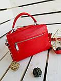 Женская кожаная сумка размером 25х19х12 см Красная (01136), фото 8