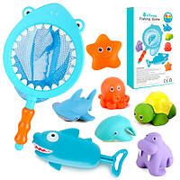 Іграшка YB1773M-7B для купання, акула-сачок, морські мешканці6шт., водяний насос, кор.,17-26,5-6см.