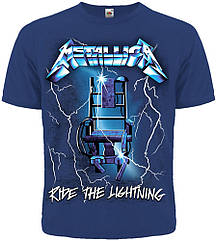 "Футболка Metallica ""Ride The Lightning"" (синяя футболка), Размер S"