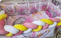 """Детское постельное белье в кроватку """"Premium"""" 100% Хлопок Комплект с бортиками из подушек + косичка"""
