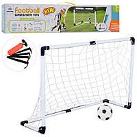 Футбольні ворота M 6024 120-40-80 см., сітка, м'яч, насос, кор., 73-16,5-7,5 см.