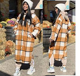 Женская стильная рубашка -пальто.  Ткань кашемир -шерсть ,плотная ткань. Размеры: 42-44 46-48.