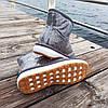 Серые короткие угги низкие дутики женские непромокаемые силиконовые для дождя, фото 4