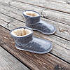 Серые короткие угги низкие дутики женские непромокаемые силиконовые для дождя, фото 6