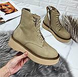 😜 Ботинки - женские бежевые трэндовые ботинки зима на меху, фото 6