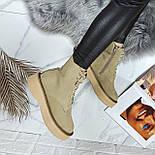 😜 Ботинки - женские бежевые трэндовые ботинки зима на меху, фото 5