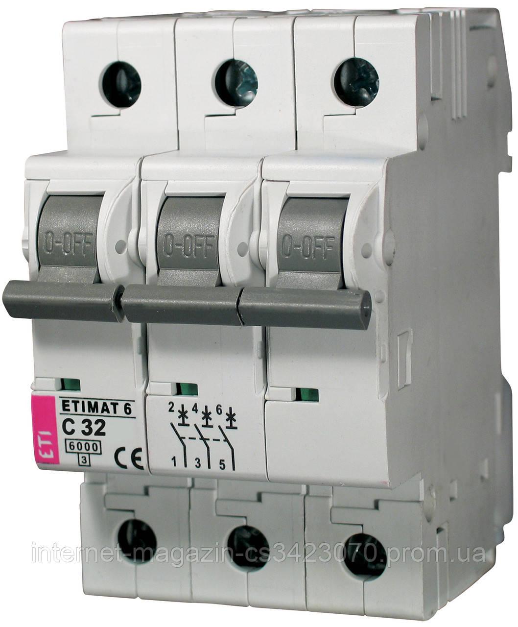 Автоматичний вимикач ETIMAT 6 3Р 32A 6kA х-ка С, ЕТІ