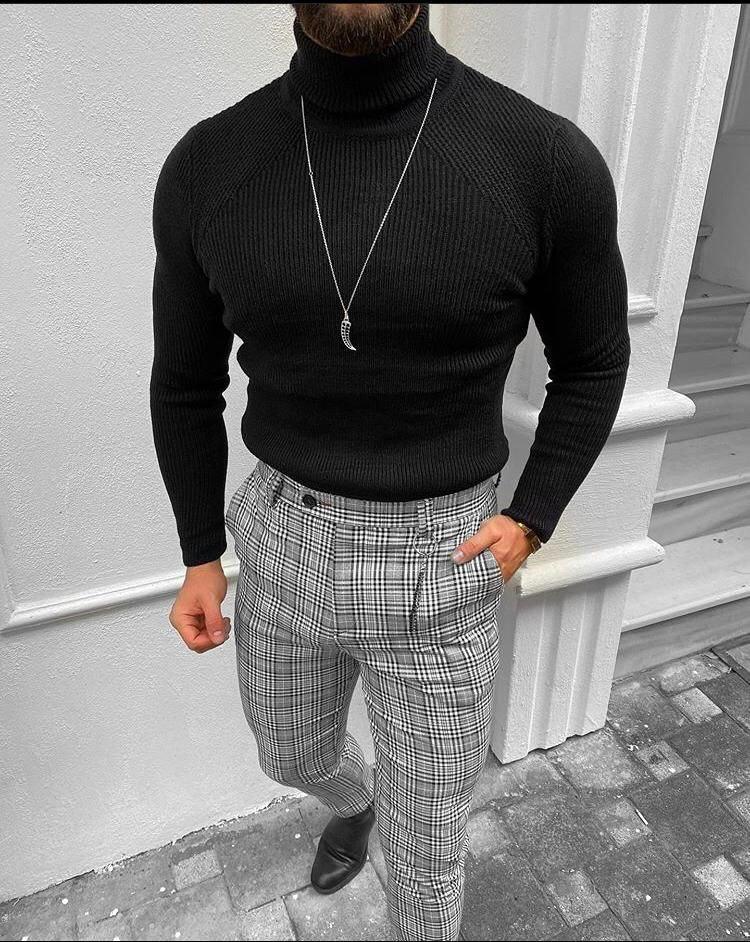😜 Гольф - мужской классический гольф черный крупная вязка