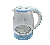 Чайник Domotec MS 8111 Синий/Белый (1.8л, 2200Вт, стекло)