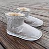 Бежевые белые короткие угги низкие дутики женские непромокаемые силиконовые для дождя, фото 4