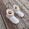 Бежевые белые короткие угги низкие дутики женские непромокаемые силиконовые для дождя, фото 6