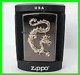 """Зажигалка Zippo стиль """"GOLDEN DRAGON"""" Бензиновая, копия, фото 2"""