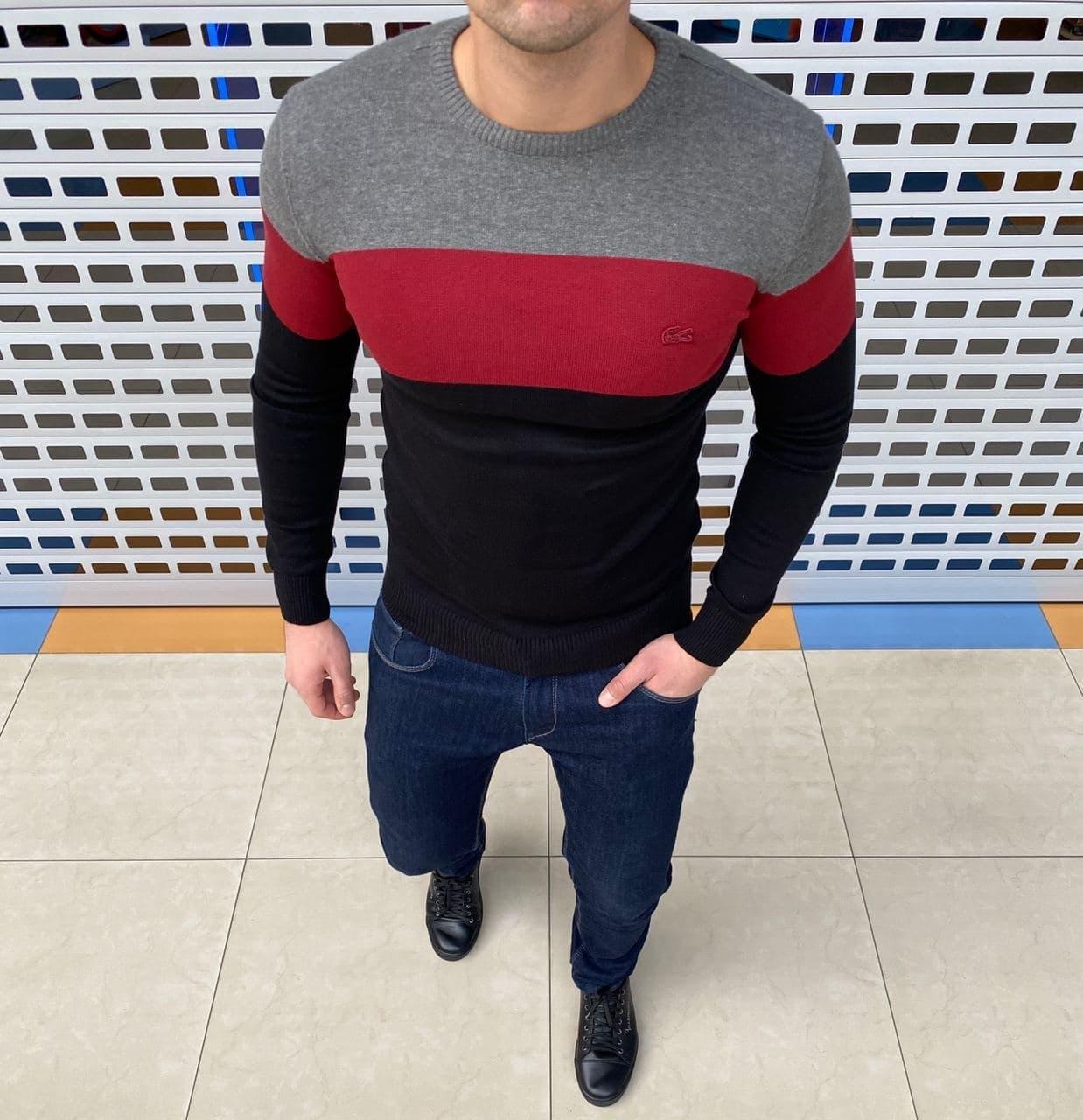 Мужская кофта Lacoste H1089 черно-красная