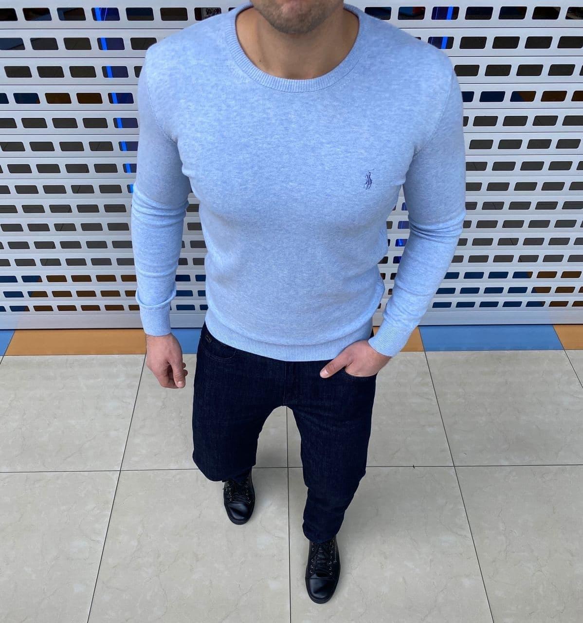 Мужская кофта Polo Ralph Lauren H1092 голубая