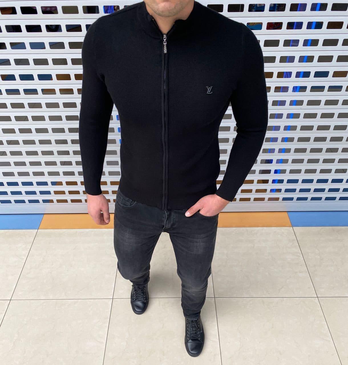 Мужская кофта на змейке Louis Vuitton H1094 черная