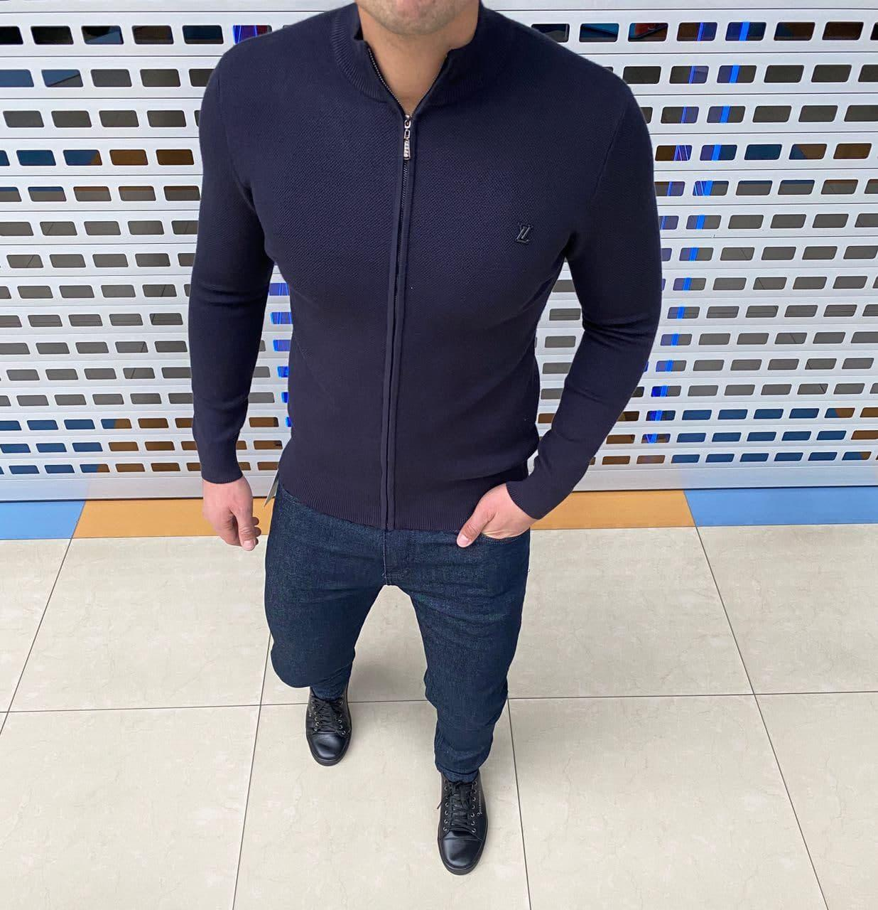Мужская кофта на змейке Louis Vuitton H1095 синяя