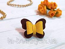 Бантик Бабочка для собаки коричневый с желтым для выставок и дома Pets Couturier SIMBA