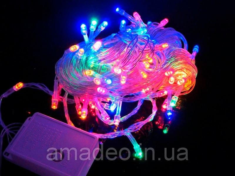 Внутренняя Гирлянда светодиодная нить 13,5м, 200led белый прозрачный провод - цвет разноцветный