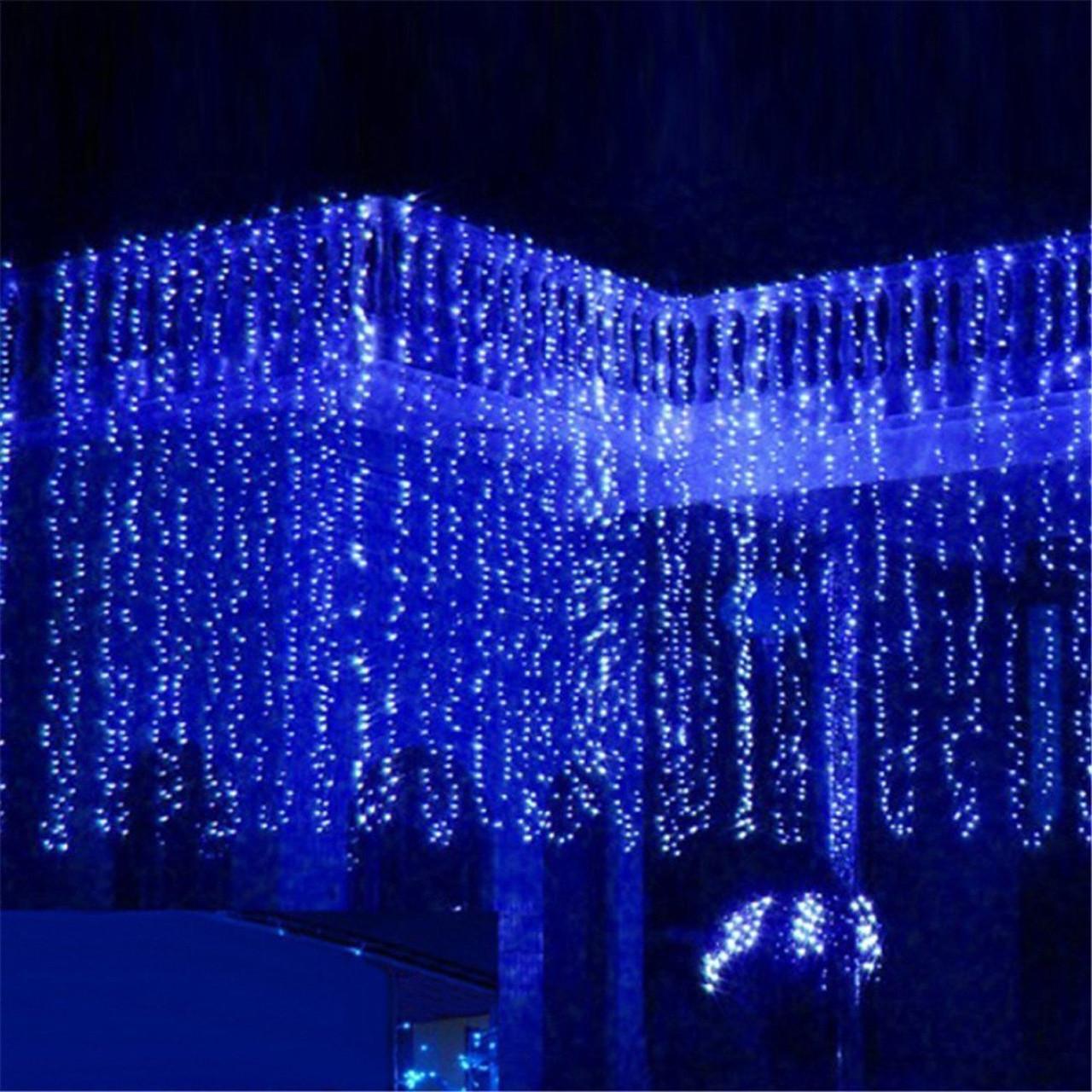 Синяя Гирлянда Свеча Штора 3х3м 480 led- на черном проводе, синяя, занавес