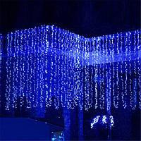 Синяя Гирлянда Свеча Штора 3х3м 480 led- на черном проводе, синяя, занавес, фото 1