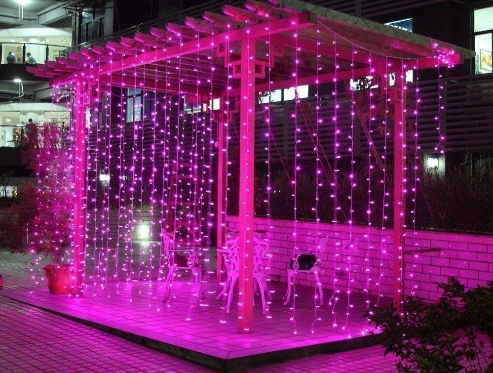 Гирлянда Штора 2х2м 480 led -на прозрачный провод, розовый цвет, занавес Плей Лайт
