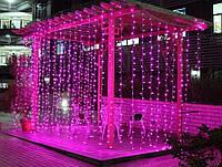 Гирлянда Штора 2х2м 480 led -на прозрачный провод, розовый цвет, занавес Плей Лайт, фото 1