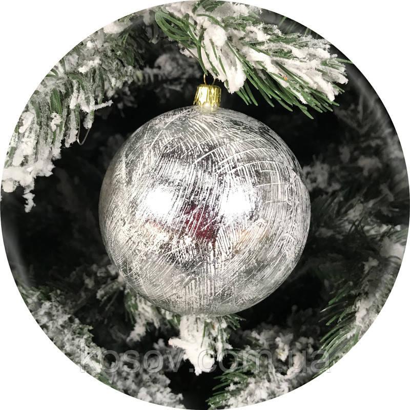 Новогодний елочный шар «Фольга» (серебро, 100мм)