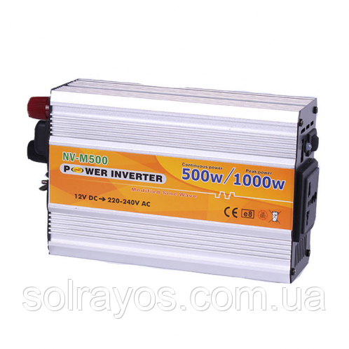 "Инвертор NV-M 500Вт 12-220 + USB кабель с ""крокодиллами"" на акумулятор"