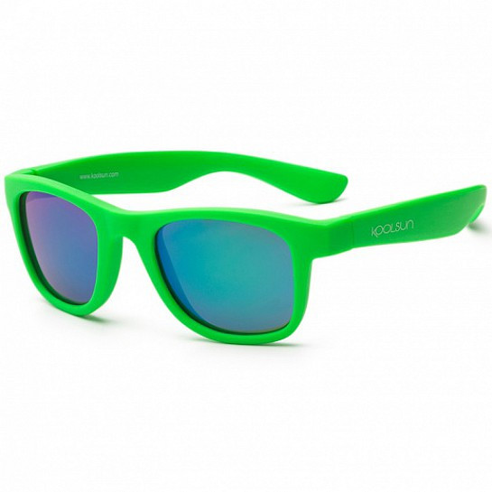 Акция! Детские солнцезащитные очки Koolsun неоново-зеленые серии Wave (Размер: 1+) (KS-WANG001) [Скидка 5%,