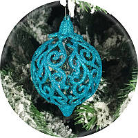 Новогодний елочный шар«Фрукт» (бирюзовый, 80мм)