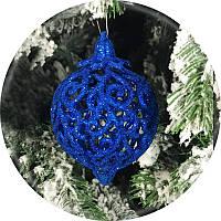 Новорічна ялинкова куля «Фрукт» 4шт (синій, 80мм)