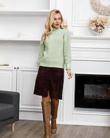 Ангоровый свитер-гольф женский вязаны ISSA, кофта повседневная, водолазка женская, цвет салатовый M