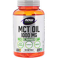 Масло МСТ, MCT Oil, Now Foods, 1000 мг, 150 желатиновых капсул (NF2196)