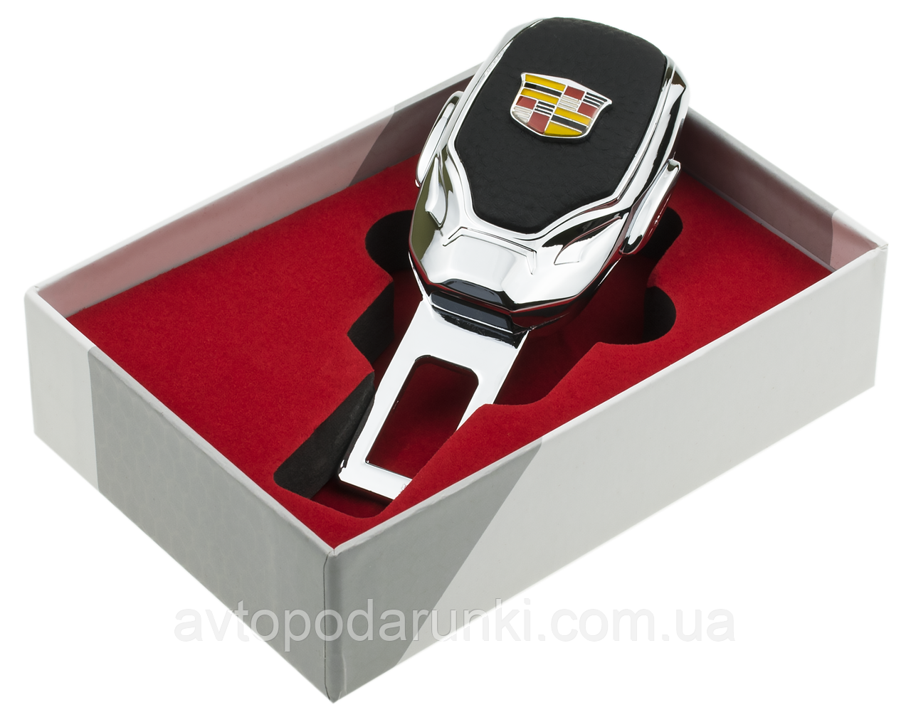 Заглушка - переходник ремня безопасности  с логотипом CADILLAC VIP КЛАССА (Авиационная сталь, кожа)