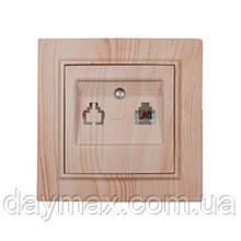 ElectroHouse Розетка телефонна Світле дерево Enzo IP22