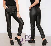"Женские кожаные штаны на резинке ""Маркус"" (тонкие)  Батал"
