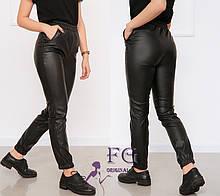"""Женские кожаные штаны на резинке """"Маркус"""" (тонкие)  Норма"""