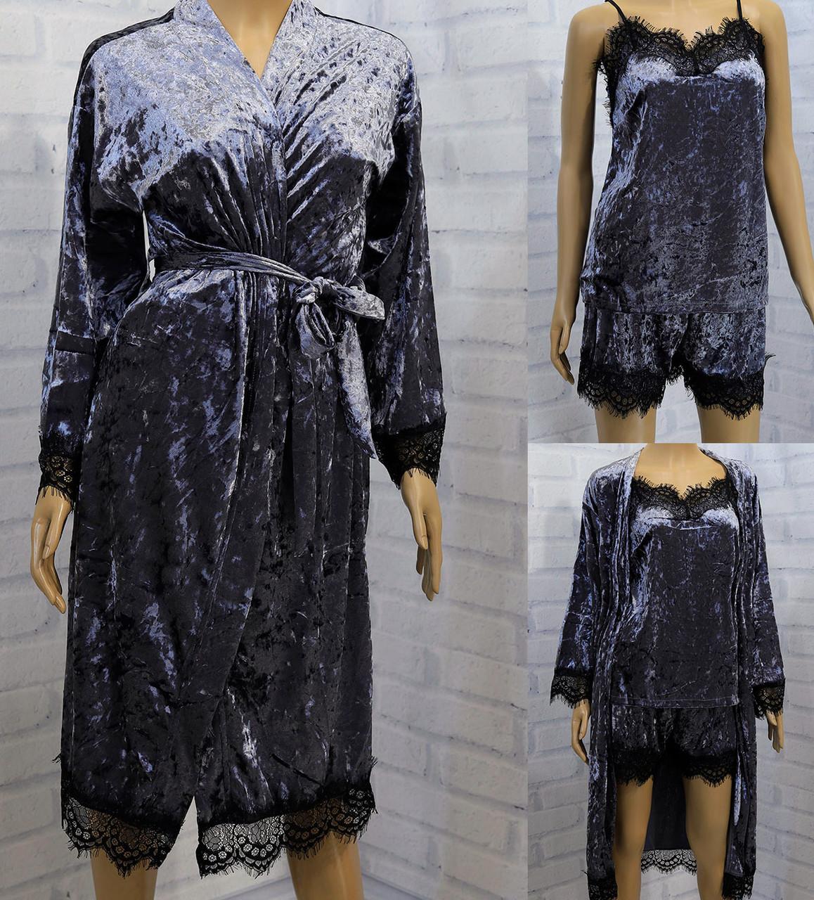 Комплект женский 3-ка: халат длинный рукав, майка тонкая бретель+шорты,  SAIMEIQI