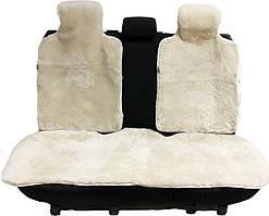 Накидка на заднее сиденье автомобиля из натурального меха овчины (мутона) белый