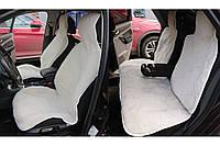 Комплект на всю машину - накидки на заднее сиденье автомобиля из натурального меха овчины (мутона) белый, фото 1