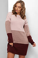 Платье женское теплое Платье свитер пудра