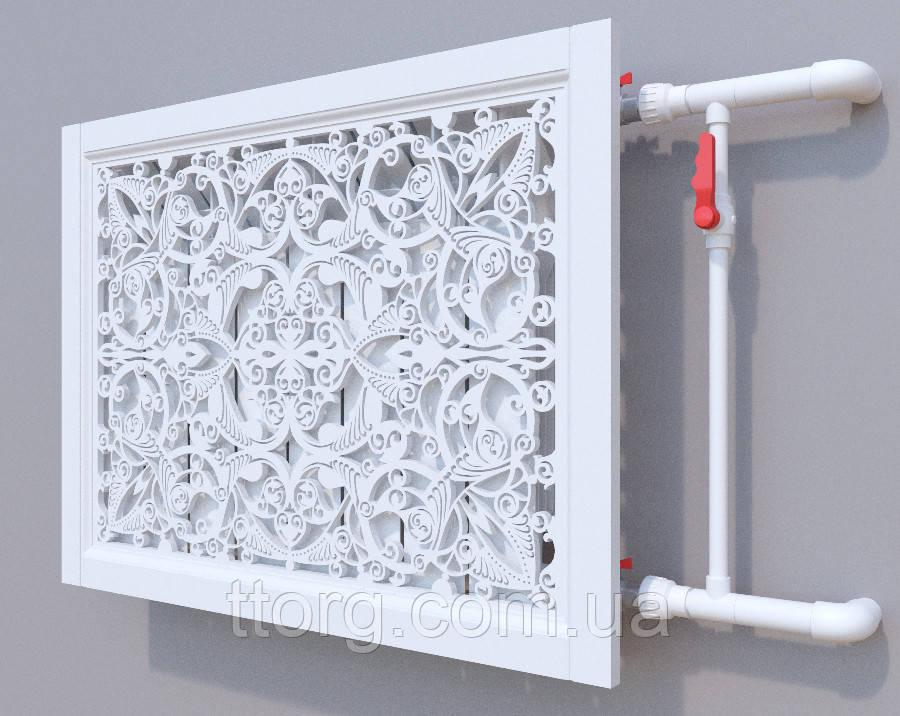 Декоративная решетка на батарею SMARTWOOD   Экран для радиатора   Накладка на батарею Решетка с крышкой,