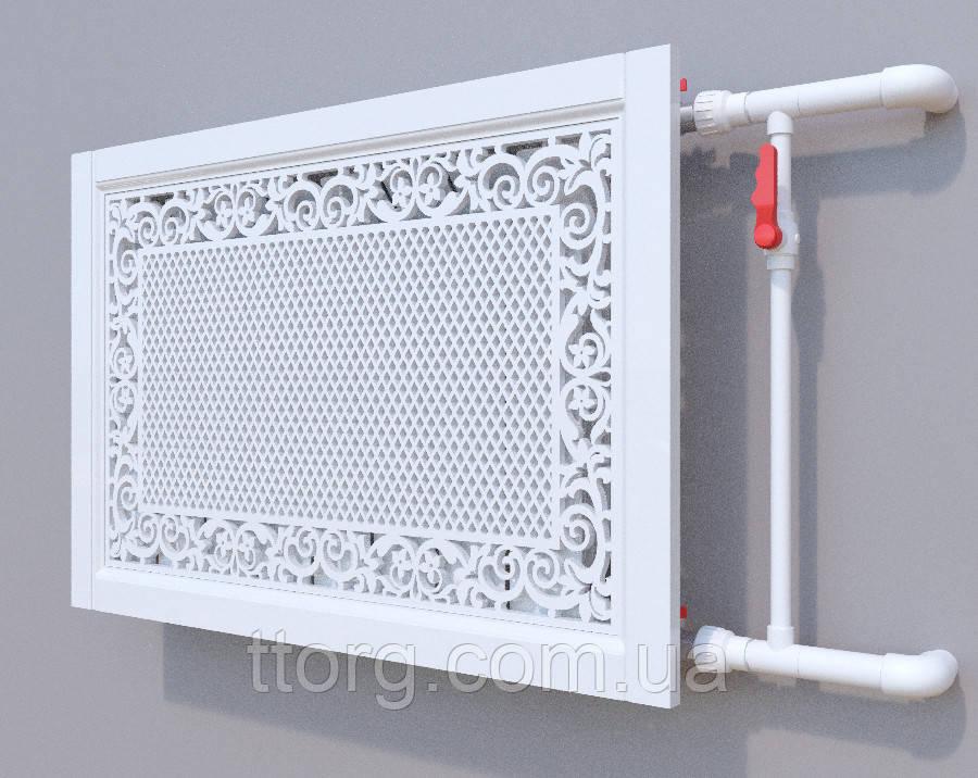 Декоративна решітка на батарею SMARTWOOD   Екран для радіатора   Накладка на батарею 600*600 Решітка,